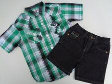 New Lot of 2 American Hawk Dress Shirt & Shorts Plaid T-shirt Tee Baby Boys 18M