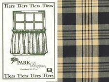 Primitive Country Millbury Tier Curtains 72WX24L Black Mustard Tan Plaid Cotton