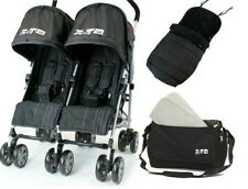 Black Twin Double Pram Stroller Buggy Inc Raincover Bag & Luxury Footmuffs