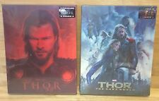 THOR & THOR : THE DARK WORLD - BLUFANS LENTICULAR BLU RAY STEELBOOKS - BOTH NEW