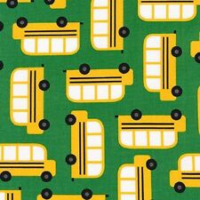 Robert Kaufman Cotton Fabric. Back to School 2. school bus. nursery. By the FQ