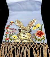 Pier 1 HENRY BUNNY Blue EMBROIDERED Table Runner with Fringe Easter Spring NEW