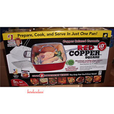 Red Copper Chef Square 5-Piece Nonstick Oven Safe Pan Cookware Set As Seen On TV