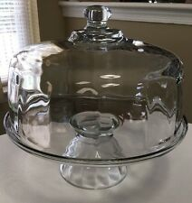 Vintage Cookie Candy Fudge Cake Display Plate Glass Dome Pedestal Base