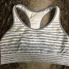 Champion Sports Bra Nylon Stretch Compression Gray Striped Racerback Women's XL