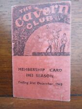 The Beatles 1963 Cavern Club Mathew Street Membership Card Dated 28/07/63 Bootle