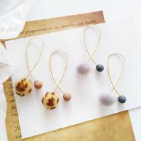 Winter Earrings Pom Pom Fur Ball Ear Drop Dangle Metal Geometry Women Jewelry