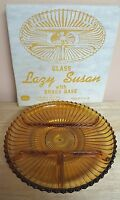 Vintage Indiana Glass 2pc Gold Glass & Brass Lazy Susan with Original Box #7318