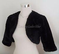 Black Faux Fur 3/4 Sleeved Bolero/Jacket/Shrug/Stole/Shawl/Wrap Satin Lined