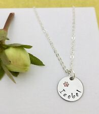 Children's Name Necklace Hand Stamped Flower Personalised Gift