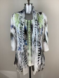 Picadilly Top Size S BNWT Green Black Blue White Sheer Layer RRP £108 Now £48