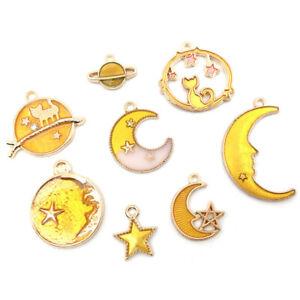 24pcs Zinc Alloy Moon star globe Dripping Oil Pendant Charm for Jewelry Making