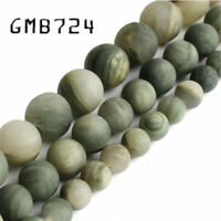 Natural Stone Matte Green Grass Jaspers Round Loose Beads for Jewelry Making Diy