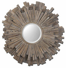 "Extra Large Driftwood Sunburst Wall Mirror | 43"" Oversize Rustic Wood Strips"