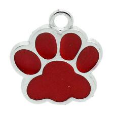 10pcs Gift Charm Pendants Enamel Red Dog's Paw Silver Tone 18mmx16mm F6