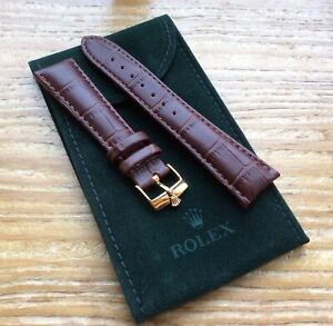 ROLEX Watch Bands 20MM Brown Leather w. Gold Plated Buckle & ROLEX Pouch