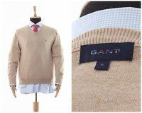 Mens GANT V-Neck Jumper Sweater Knitted Beige Size L