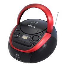 AXESS PORTABLE AM FM CD MP3 CASSETTE USB BOOMBOX RED