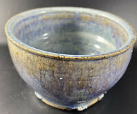 Wonderful MCM Mid Century Bowl Dish Container Signed Pottery Drip Brown Blue