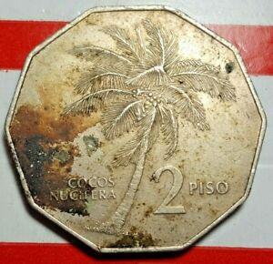 Rare 1984 Philippine 2 Piso Obv Andres Bonifacio Rev Coconut Palm Circulated