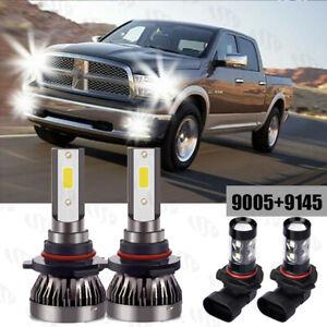 For Dodge Ram 1500 2500 3500 1999-2001 4x LED Headlights + Fog Light Bulbs kits