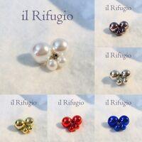 ORECCHINI con DUE PERLE colore METALLIZZATO - donna orecchino doppia perla sfera