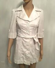 Fabulosity White Single Breasted Trench Size Small