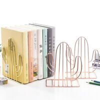 BG_ KQ_ IC- JP_ Creative Cactus Shape Iron Book Holder Stand Desktop Bookends St
