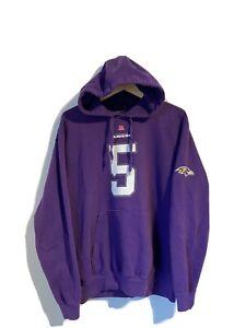 Joe Flacco #5 Baltimore Ravens NFL Team Apparel Hoodie Size XL Purple