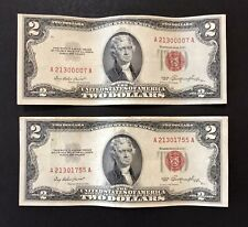 1953 Red Seal $2 Dollar Bill Legal Tender Note - Lot Of 2 (P106)