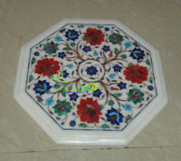 """12"""" Marble Coffee Table Top Carnelian Lapis Inlay Marquetry Art Home Decor Gift"""