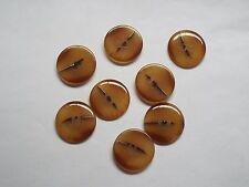 8pc 23mm Brown Orange Mock Amber Suit Coat Cardigan Knitwear Button 4725