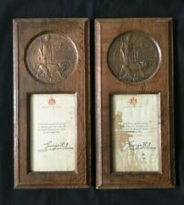 WW1 Two Framed Plaques to Brothers - NCO and Officer Suicide from Devon