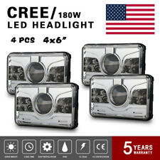 Cree 4x6''LED Projector Headlight For Kenworth H4-H13 T600 Sealed Beam AngelEyes