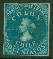CHILE  1862  COLUMBUS  10c bright blue  (LONDON print)  Sc# 12  MINT