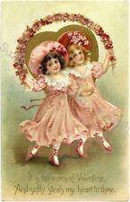 Fabric Block Valentine's Day Victorian Girls Pink Roses Chic & Shabby