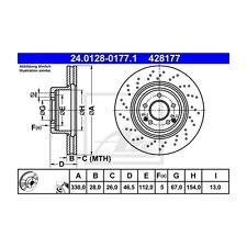 2 St. ATE 24.0128-0177.1 DISCO FRENO MERCEDES-BENZ CLASSE C CLK SLK