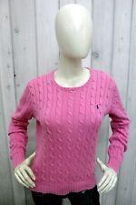 RALPH LAUREN Donna Taglia L Maglione Rosa Cotone Sweater Pullover Maglietta