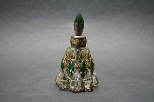 Vtg Czech Art Deco Glass Perfume Bottle Green Stones Filigree Marked