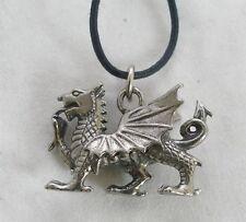 Welsh Dragon Pendant in Fine English Pewter, Handmade (WA)