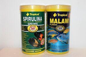 Tropical Malawi Flocken 1000ml + 1000ml Trop. Spirulina Forte 36% Fische Pflege