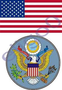 USA States Flag + SEAL 2 bumper stickers decals set #04