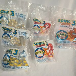 Sonic the Hedgehog 3 1993 McDonalds Happy Meal Toy New Sealed Lot of Six + Bags!