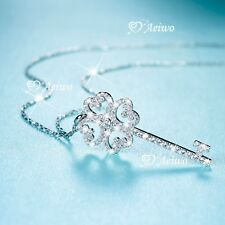 925 sterling silver simulated diamond pendant chain necklace Love heart key 38cm