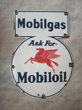 "Vintage Mobiloil Mobilgas Porcelain Enamel Sign 16""x11 1/2"""