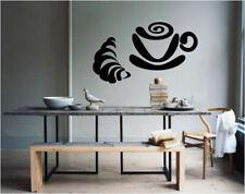Wall Vinyl Sticker Bedroom coffee cup croissant breakfast kitchen decor bo2634