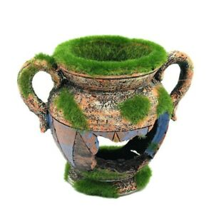 Aquarium Accessories Fish Tank Ornaments Resin Vase With Moss Fish Tank Decor