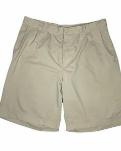 "Under Armour Golf Shorts Men's Size 38 Pleated Tan Performance 9"" Inseam Khaki"