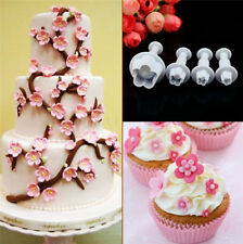 4 pcs Plum Flower Icing Cutter Fondant Cake Sugarcraft Decorating Plunger Mould