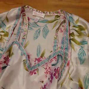 Vintage Oscar De La Renta Pink Label Kimono Robe Nightgown Set Flowers LG